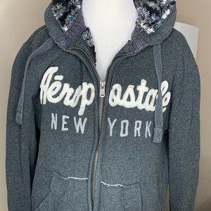 Aeropostale Sherpa-lined hoodie, men's small.